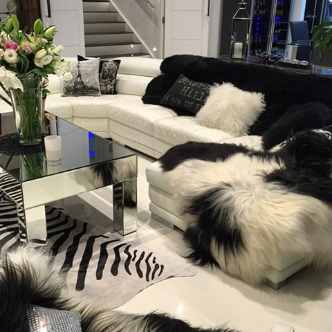 Black and White Lounge Area with textured furs and leather