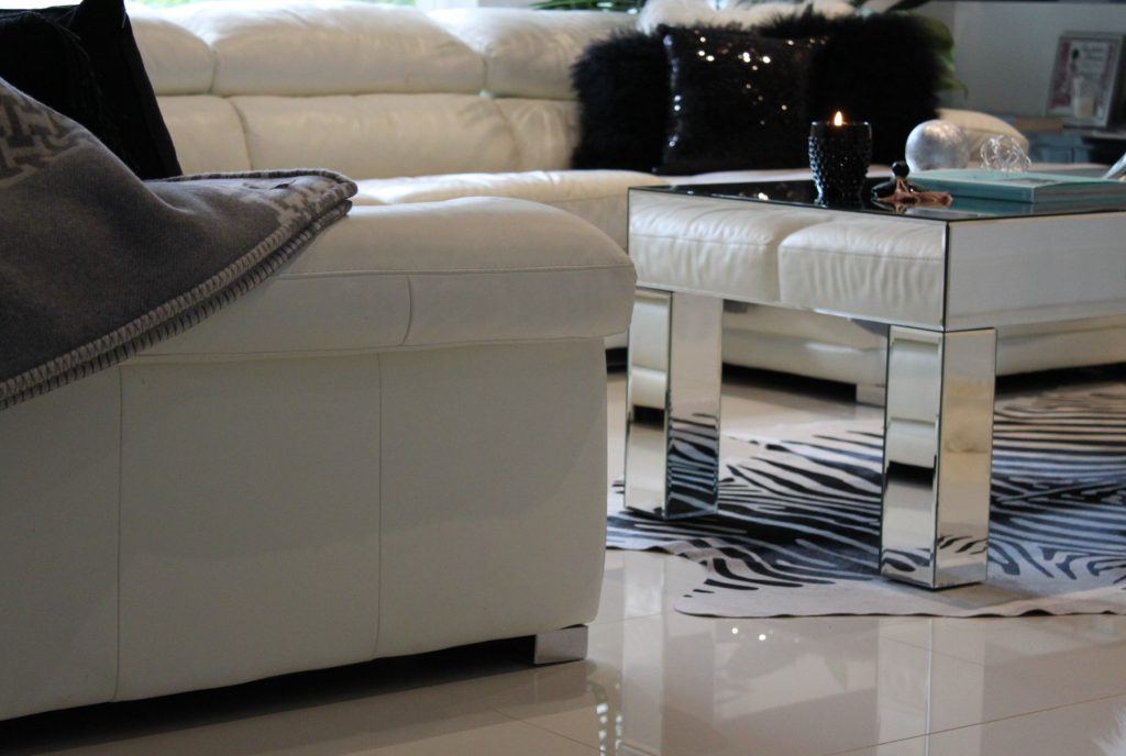 Black and White Lounge Room with mirror coffee table