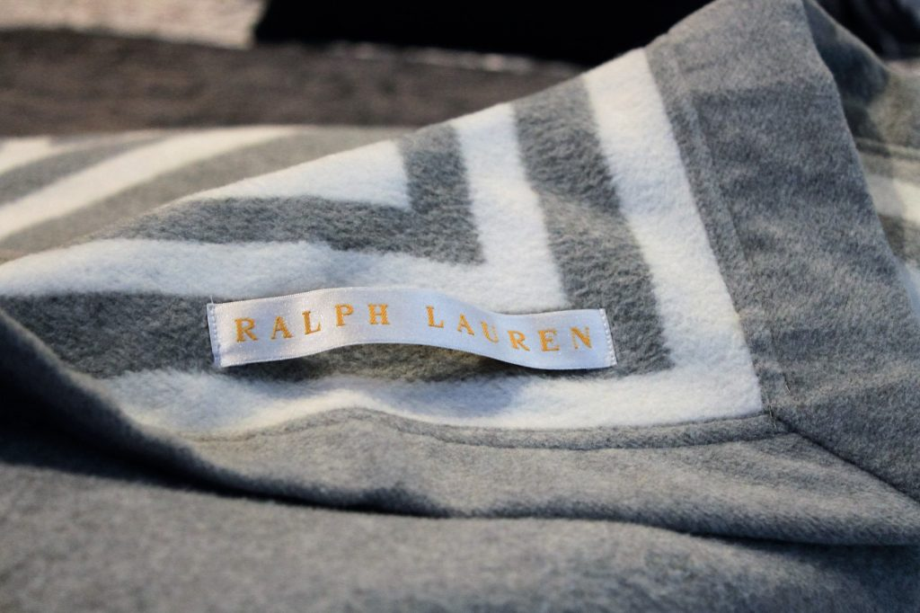 Ralph Lauren Throw Rug Grey and White