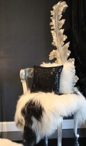 Rococco Style Feature Chair with fur and cushions