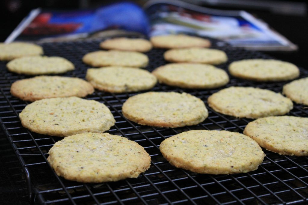 cookies cooling on a cookie rack