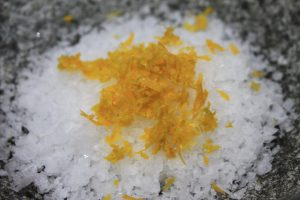 lemon zest and sea salt flakes